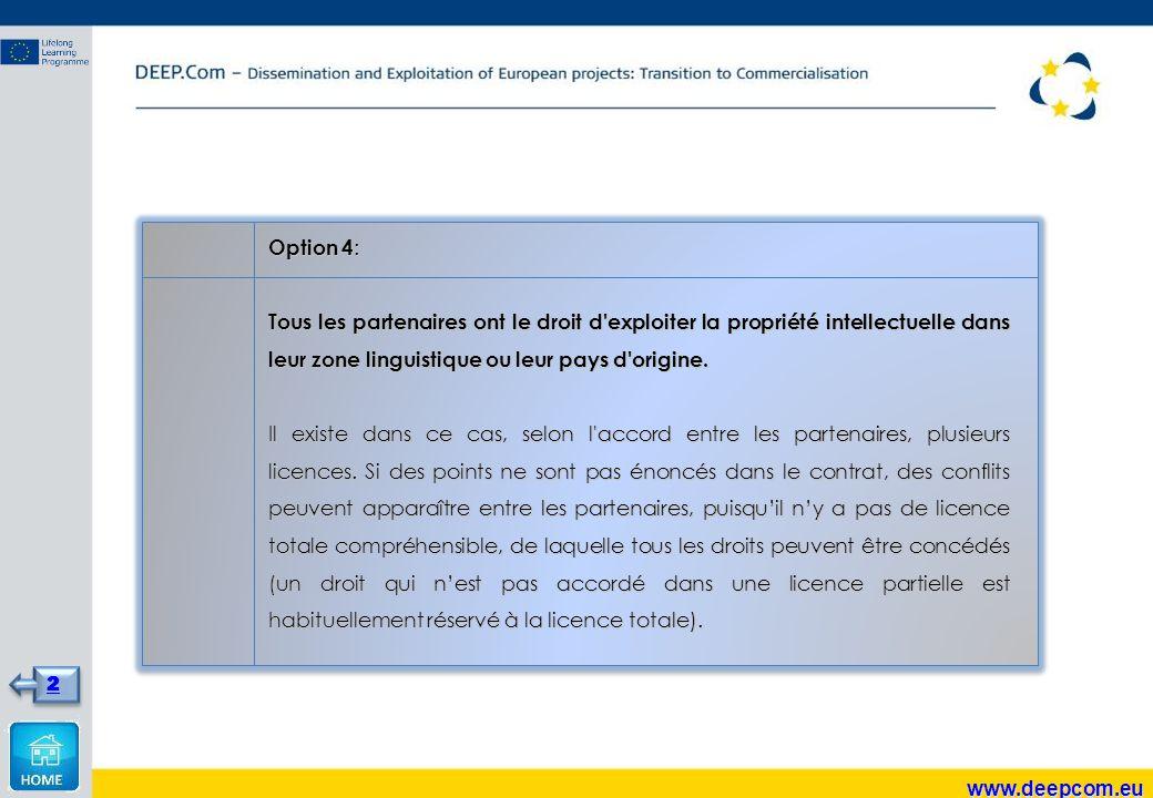 Option 4 : Tous les partenaires ont le droit d exploiter la propriété intellectuelle dans leur zone linguistique ou leur pays d origine.