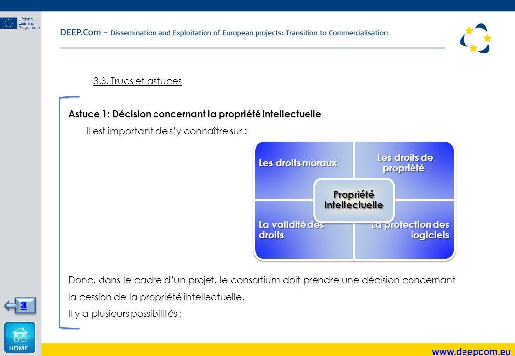 3.3. Trucs et astuces Astuce 1: Décision concernant la propriété intellectuelle Il est important de s'y connaître sur : Il est important de s'y connaî