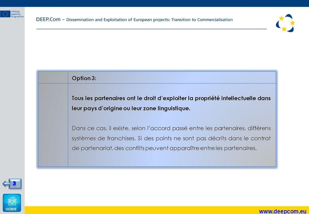 Option 3: Tous les partenaires ont le droit d'exploiter la propriété intellectuelle dans leur pays d'origine ou leur zone linguistique.