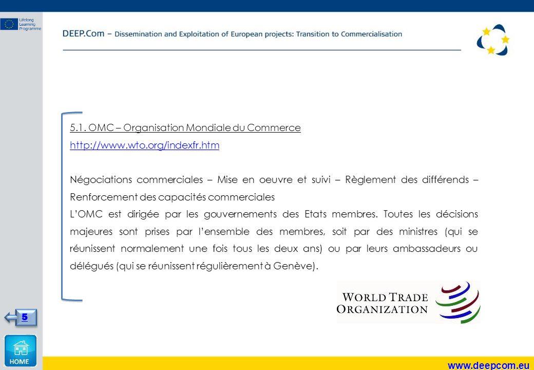 5.1. OMC – Organisation Mondiale du Commerce http://www.wto.org/indexfr.htm Négociations commerciales – Mise en oeuvre et suivi – Règlement des différ