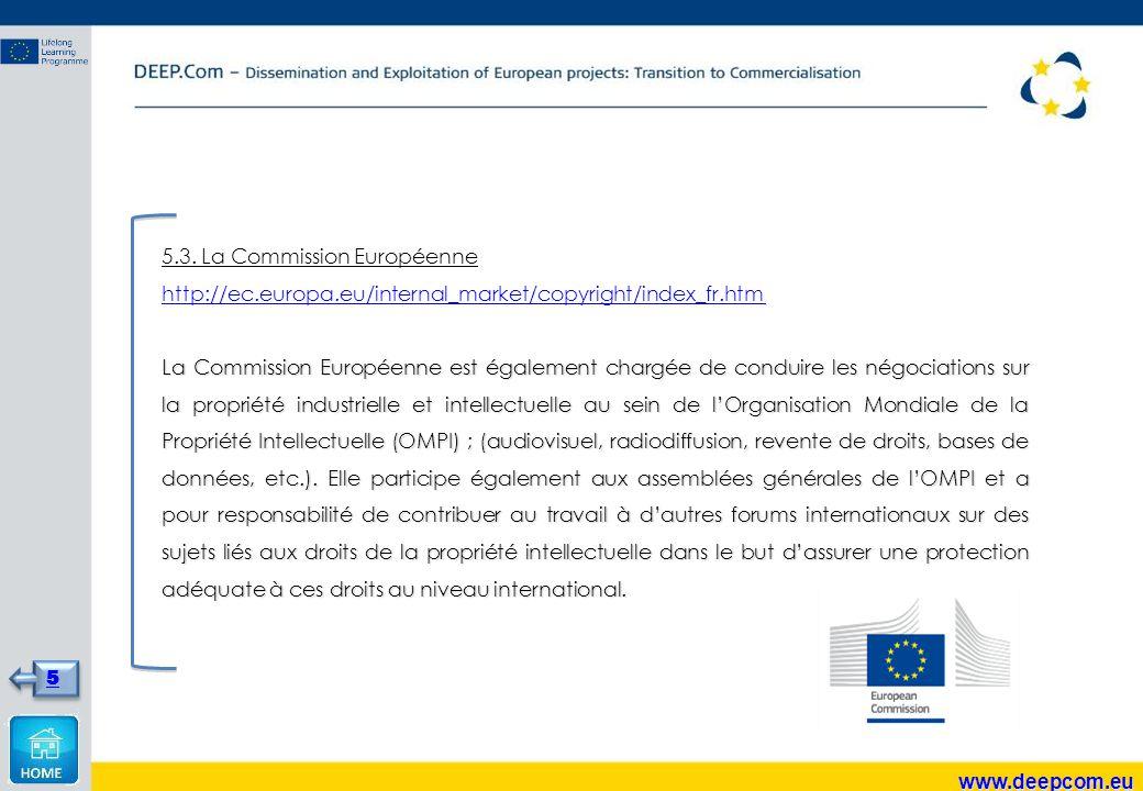 5.3. La Commission Européenne http://ec.europa.eu/internal_market/copyright/index_fr.htm La Commission Européenne est également chargée de conduire le