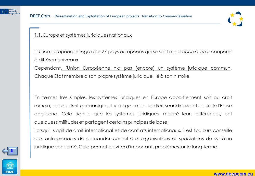 1.1. Europe et systèmes juridiques nationaux L'Union Européenne regroupe 27 pays européens qui se sont mis d'accord pour coopérer à différents niveaux