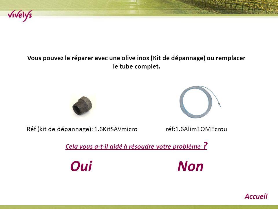 Vous pouvez le réparer avec une olive inox (Kit de dépannage) ou remplacer le tube complet. Réf (kit de dépannage): 1.6KitSAVmicro réf:1.6Alim1OMEcrou