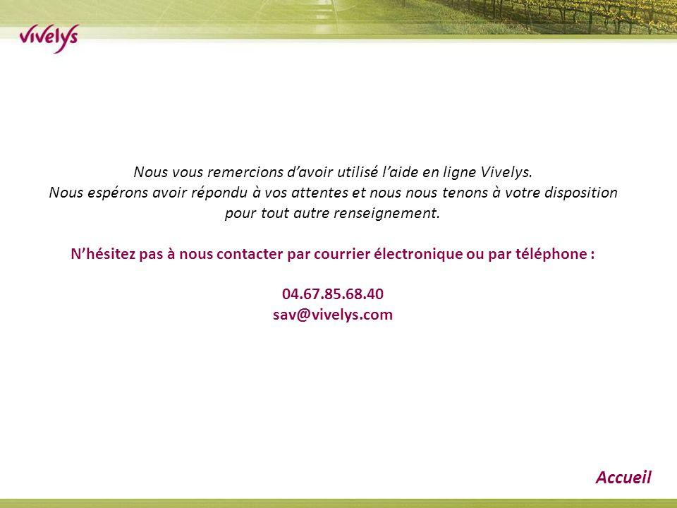 Nous vous remercions d'avoir utilisé l'aide en ligne Vivelys. Nous espérons avoir répondu à vos attentes et nous nous tenons à votre disposition pour