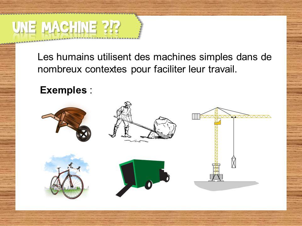 Les humains utilisent des machines simples dans de nombreux contextes pour faciliter leur travail. Exemples :
