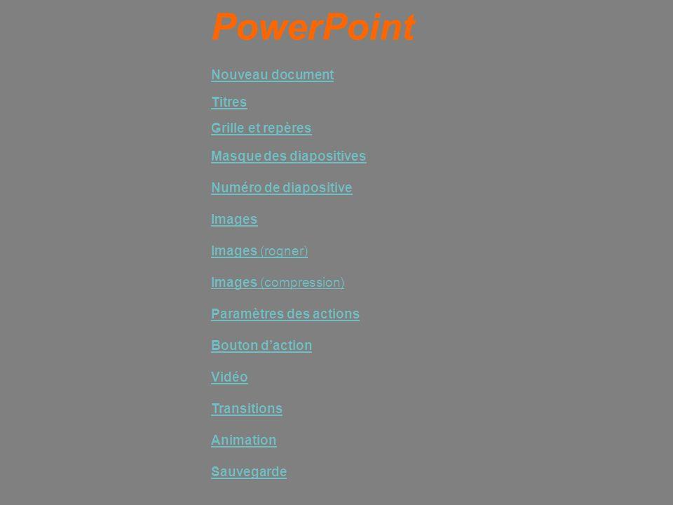 PowerPoint Nouveau document Titres Grille et repères Images (rogner) Numéro de diapositive Images (compression) Paramètres des actions Bouton d'action