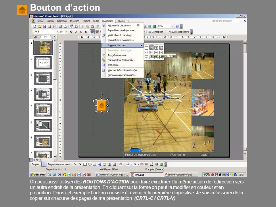 On peut aussi utiliser des BOUTONS D'ACTION pour faire exactment la même action de redirection vers un autre endroit de la présentation. En cliquant s