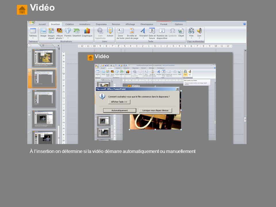 Vidéo À l'insertion on détermine si la vidéo démarre automatiquement ou manuellement