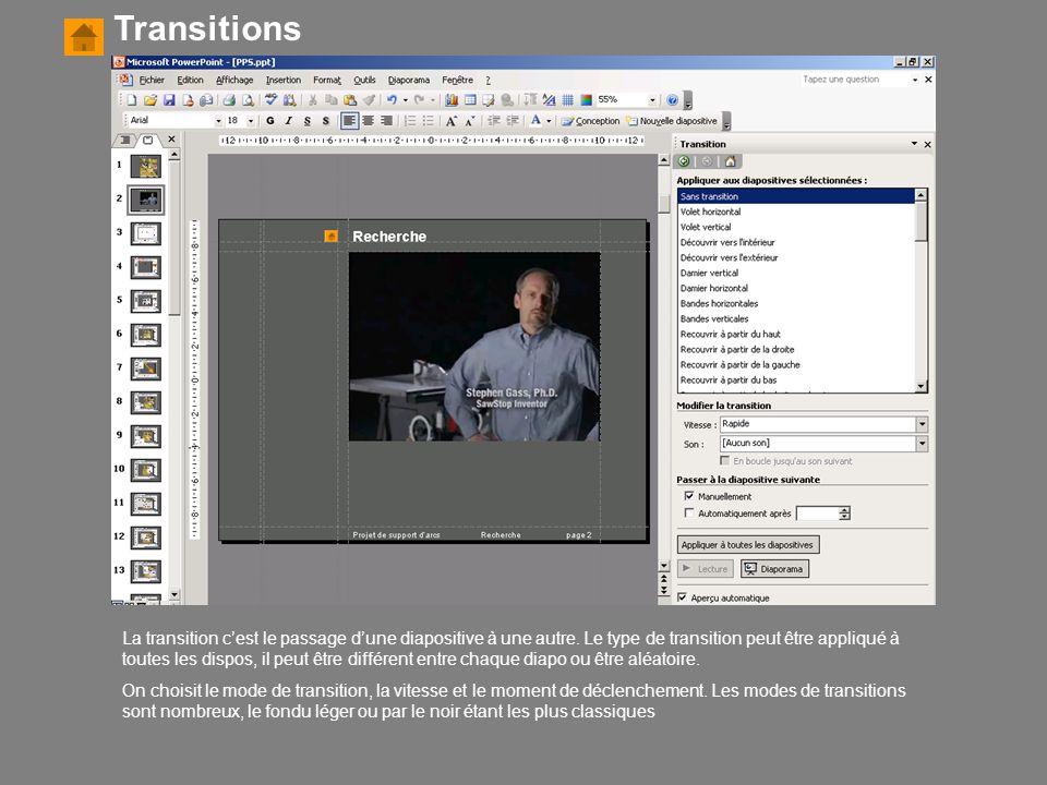 Transitions La transition c'est le passage d'une diapositive à une autre. Le type de transition peut être appliqué à toutes les dispos, il peut être d