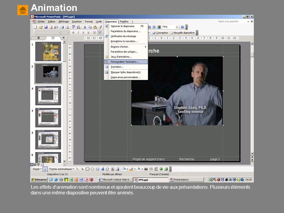 Les effets d'animation sont nombreux et ajoutent beaucoup de vie aux présentations. Plusieurs éléments dans une même diapositive peuvent être animés.