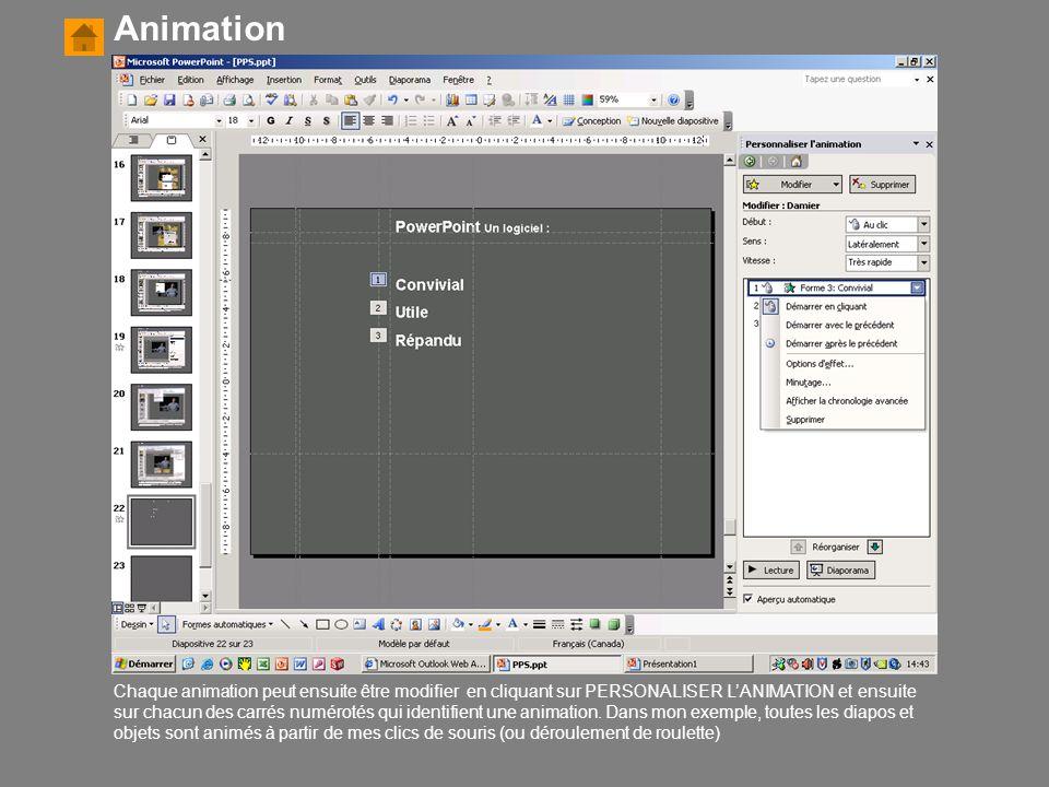 Animation Chaque animation peut ensuite être modifier en cliquant sur PERSONALISER L'ANIMATION et ensuite sur chacun des carrés numérotés qui identifi