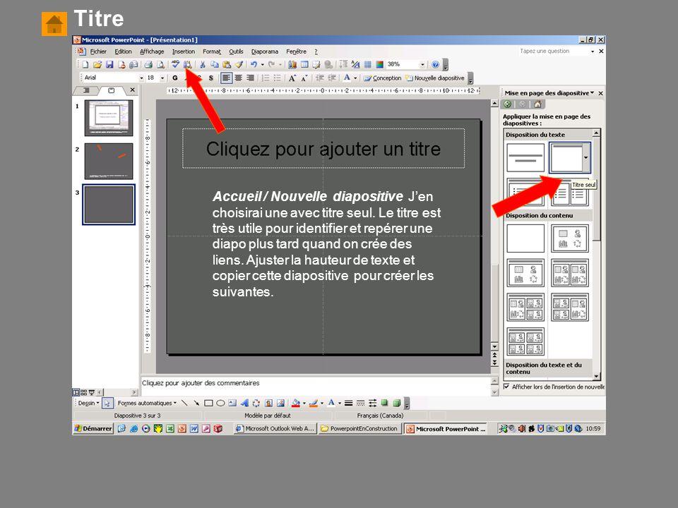 Accueil / Nouvelle diapositive J'en choisirai une avec titre seul. Le titre est très utile pour identifier et repérer une diapo plus tard quand on cré