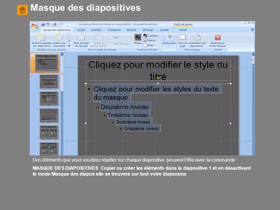 Des éléments que vous voudriez répéter sur chaque diapositive peuvent l'être avec la commande MASQUE DES DIAPOSITIVES Copier ou créer les éléments dan