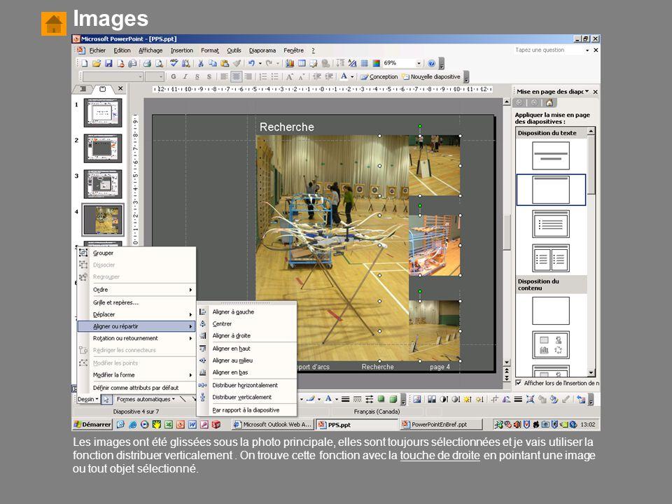 Les images ont été glissées sous la photo principale, elles sont toujours sélectionnées et je vais utiliser la fonction distribuer verticalement. On t