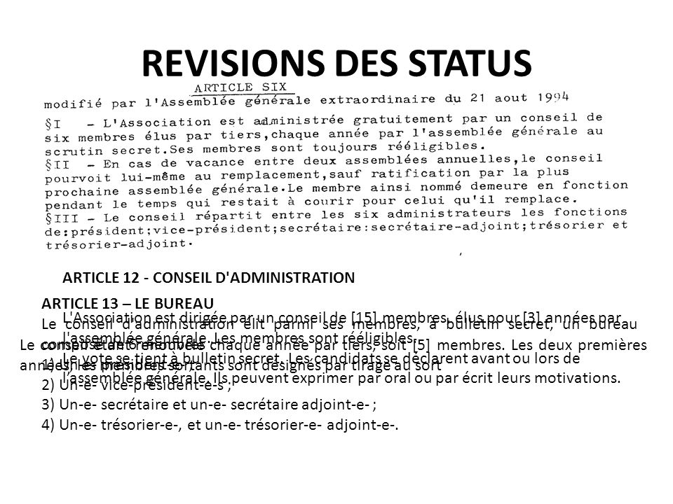 REVISIONS DES STATUS ARTICLE 12 - CONSEIL D'ADMINISTRATION L'Association est dirigée par un conseil de [15] membres, élus pour [3] années par l'assemb