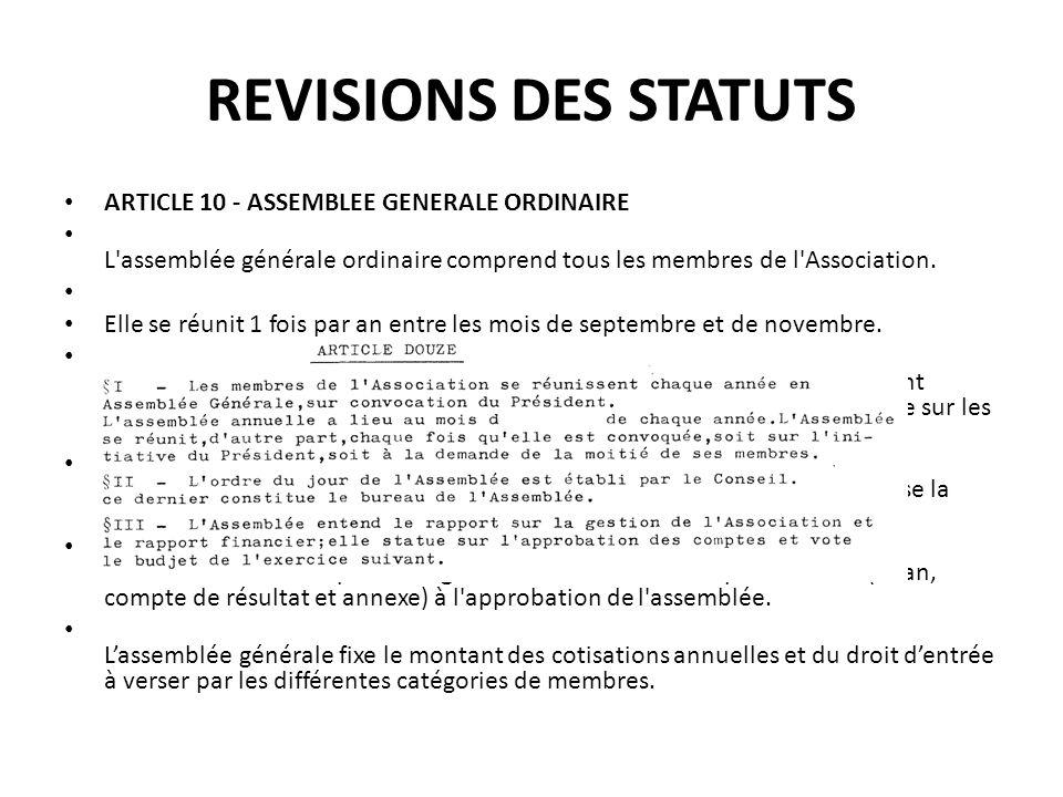 REVISIONS DES STATUTS ARTICLE 10 - ASSEMBLEE GENERALE ORDINAIRE L'assemblée générale ordinaire comprend tous les membres de l'Association. Elle se réu