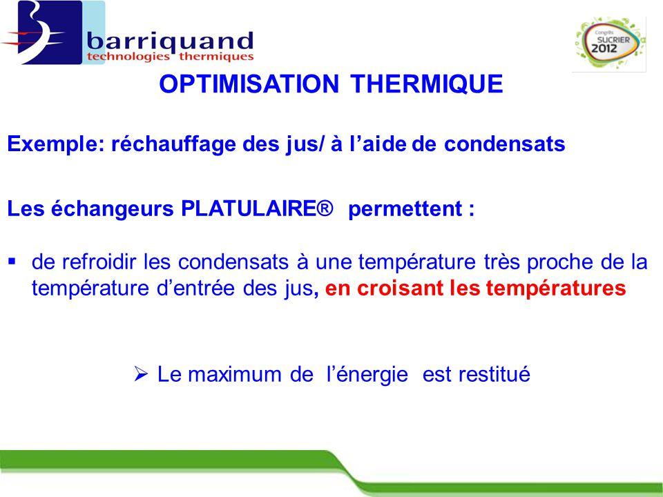 Les échangeurs PLATULAIRE® permettent :  de refroidir les condensats à une température très proche de la température d'entrée des jus, en croisant les températures Exemple: réchauffage des jus/ à l'aide de condensats  Le maximum de l'énergie est restitué OPTIMISATION THERMIQUE