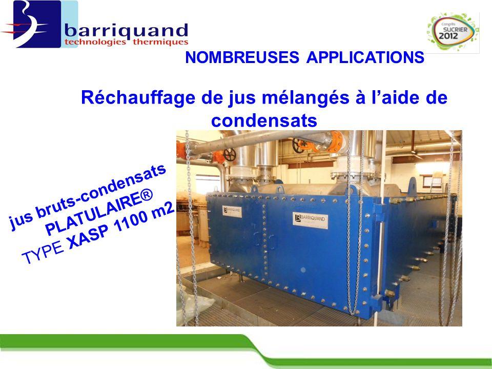 Réchauffage de jus mélangés à l'aide de condensats jus bruts-condensats PLATULAIRE® TYPE XASP 1100 m2 NOMBREUSES APPLICATIONS