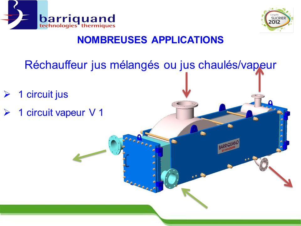  1 circuit jus  1 circuit vapeur V 1 NOMBREUSES APPLICATIONS Réchauffeur jus mélangés ou jus chaulés/vapeur