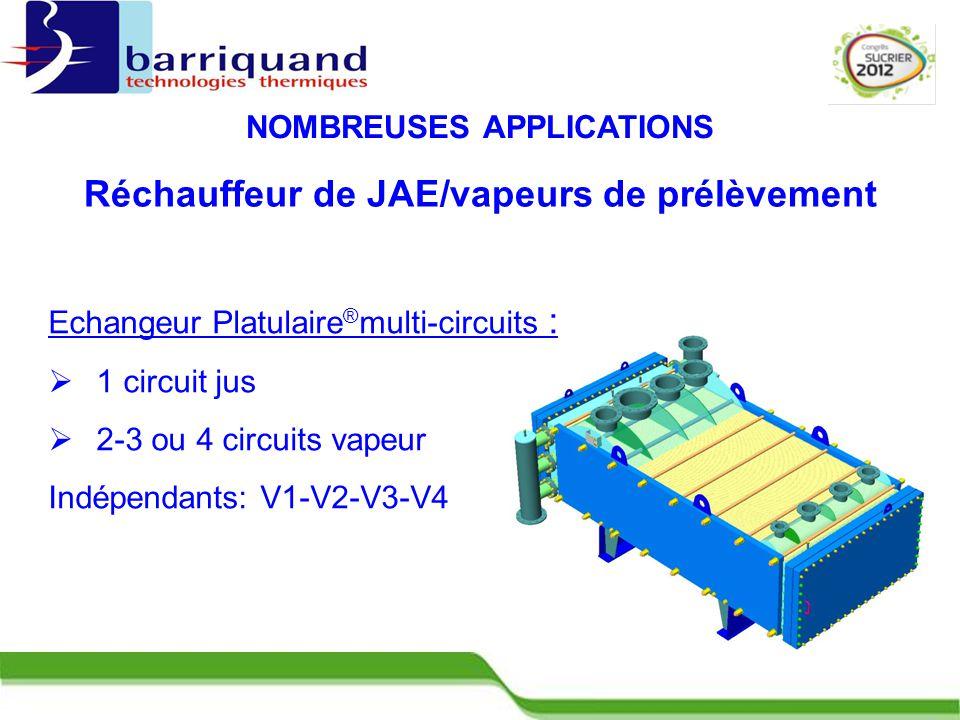 Réchauffeur de JAE/vapeurs de prélèvement NOMBREUSES APPLICATIONS Echangeur Platulaire ® multi-circuits :  1 circuit jus  2-3 ou 4 circuits vapeur Indépendants: V1-V2-V3-V4