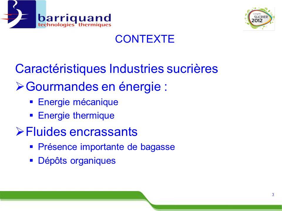 Caractéristiques Industries sucrières  Gourmandes en énergie :  Energie mécanique  Energie thermique  Fluides encrassants  Présence importante de bagasse  Dépôts organiques 3 CONTEXTE