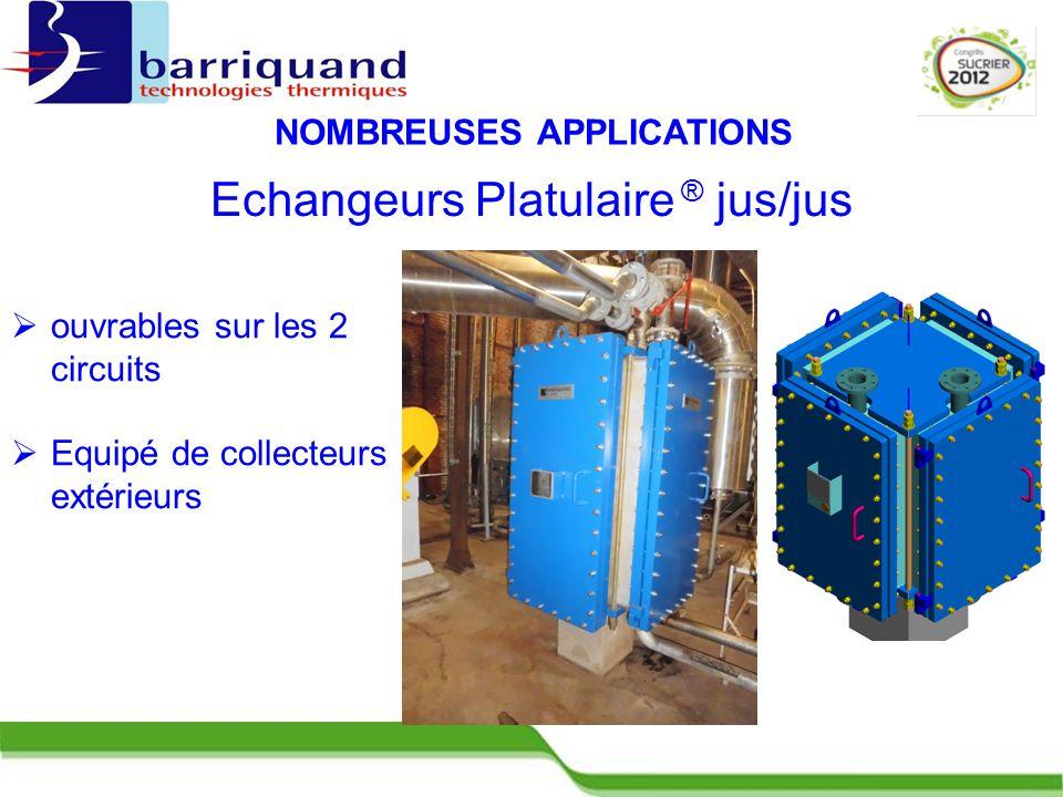  ouvrables sur les 2 circuits  Equipé de collecteurs extérieurs NOMBREUSES APPLICATIONS Echangeurs Platulaire ® jus/jus