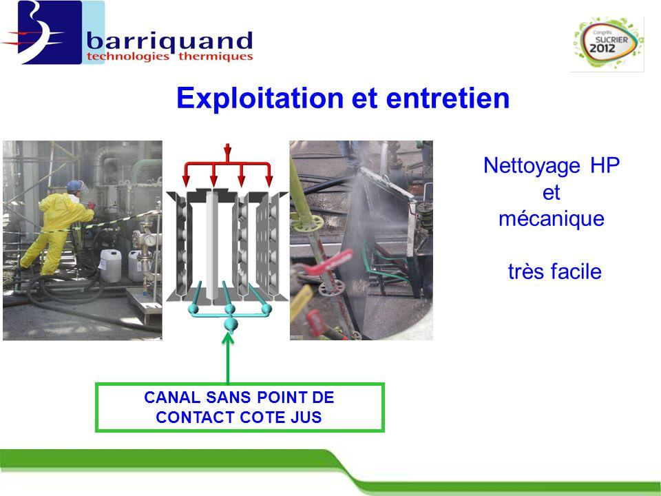 CANAL SANS POINT DE CONTACT COTE JUS Nettoyage HP et mécanique très facile Exploitation et entretien