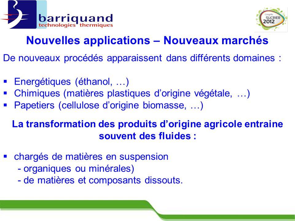 Nouvelles applications – Nouveaux marchés  chargés de matières en suspension - organiques ou minérales) - de matières et composants dissouts.