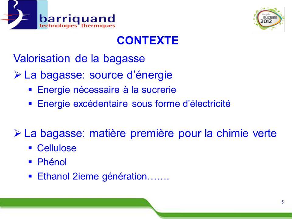 Valorisation de la bagasse  La bagasse: source d'énergie  Energie nécessaire à la sucrerie  Energie excédentaire sous forme d'électricité  La bagasse: matière première pour la chimie verte  Cellulose  Phénol  Ethanol 2ieme génération…….