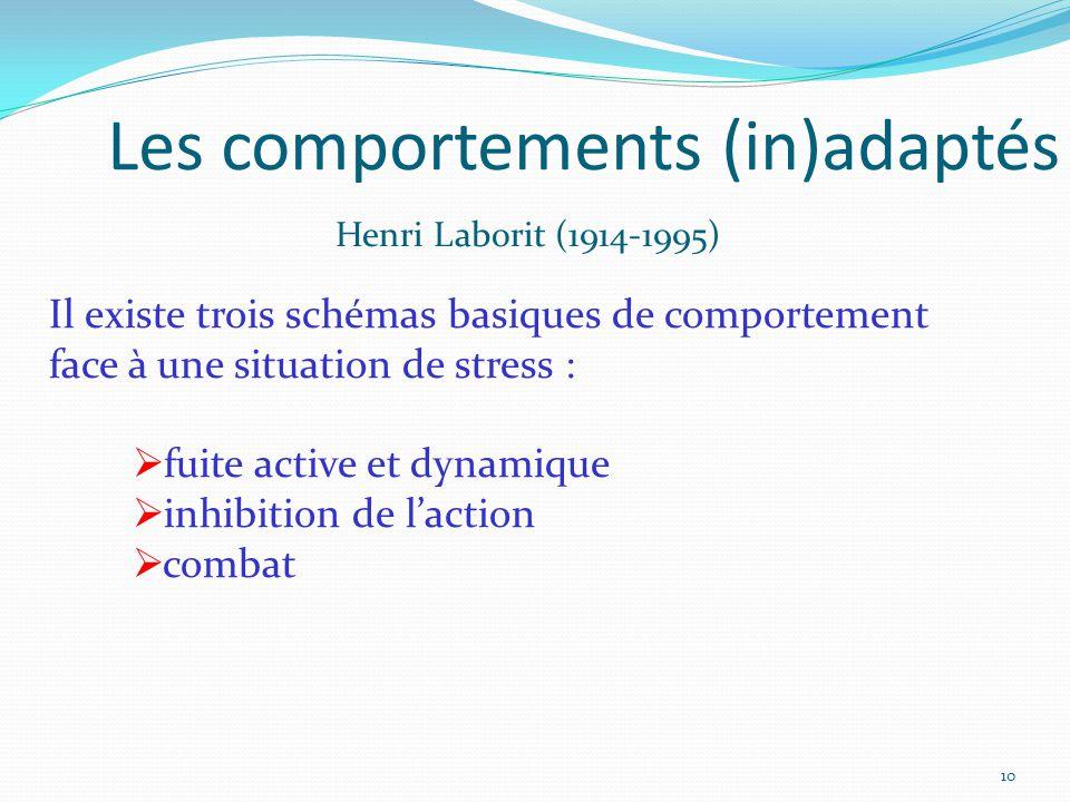Les comportements (in)adaptés Il existe trois schémas basiques de comportement face à une situation de stress :  fuite active et dynamique  inhibition de l'action  combat Henri Laborit (1914-1995) 10