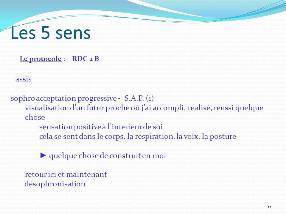 Les 5 sens Le protocole : RDC 2 B assis sophro acceptation progressive - S.A.P.