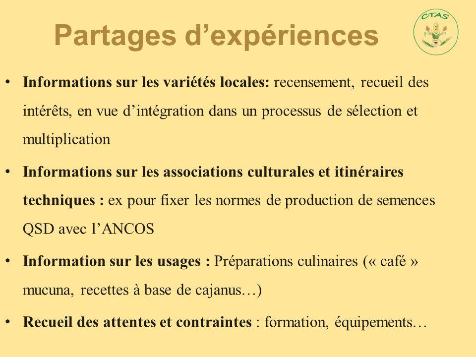 Partages d'expériences Informations sur les variétés locales: recensement, recueil des intérêts, en vue d'intégration dans un processus de sélection e