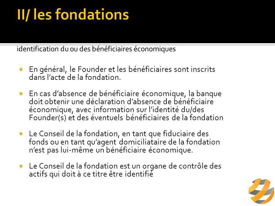  En général, le Founder et les bénéficiaires sont inscrits dans l'acte de la fondation.