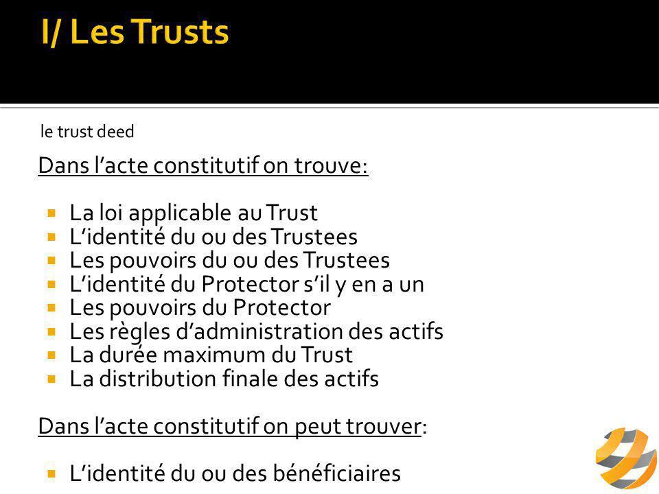  Transfert son patrimoine au Trustee  Le patrimoine transféré est éliminé de son patrimoine  Peut se désigner comme bénéficiaire  Nomme le Trustee  Nomme le Protector
