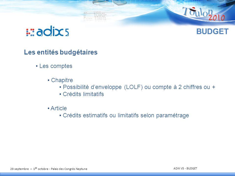 29 septembre – 1 ER octobre - Palais des Congrès Neptune ADIX V5 - BUDGET BUDGET Les entités budgétaires (suite) Les services Ouverts selon le besoin de l'établissement.