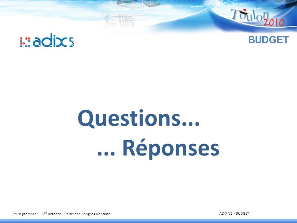 29 septembre – 1 ER octobre - Palais des Congrès Neptune ADIX V5 - BUDGET BUDGET Questions...... Réponses