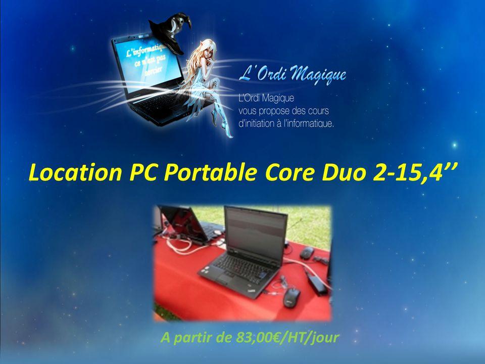 Location d'une salle informatique mobile 10 PCs Portables Core Duo 2 - 15,4'' avec connexion en 3G+ ou Wifi ou CPL A partir de 480€/HT/jour Avec insta