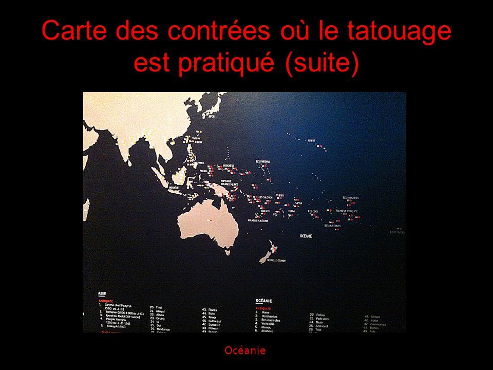 Carte des contrées où le tatouage est pratiqué (suite) Océanie