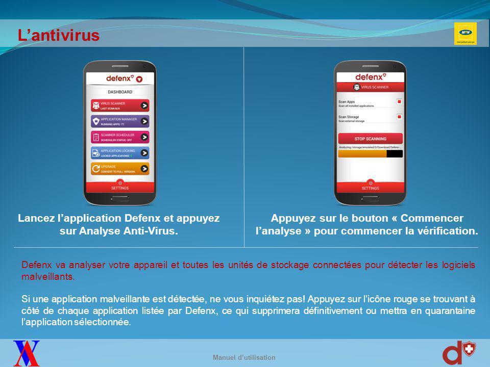 L'antivol Pour configurer les fonctions antivol, appuyez sur « Antivol » dans le menu de l'application.