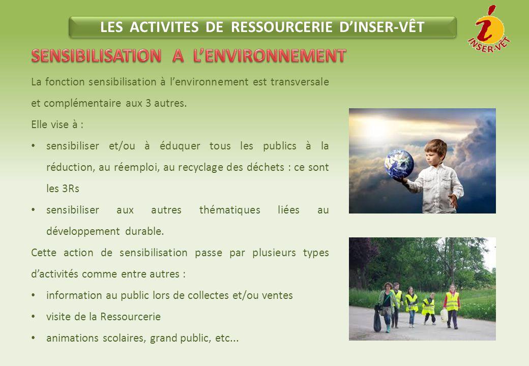 LES ACTIVITES DE RESSOURCERIE D'INSER-VÊT La fonction sensibilisation à l'environnement est transversale et complémentaire aux 3 autres.