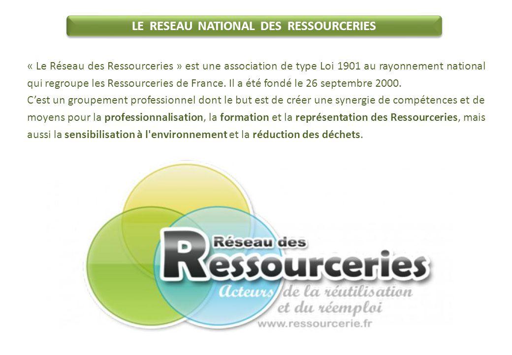 LE RESEAU NATIONAL DES RESSOURCERIES « Le Réseau des Ressourceries » est une association de type Loi 1901 au rayonnement national qui regroupe les Ressourceries de France.