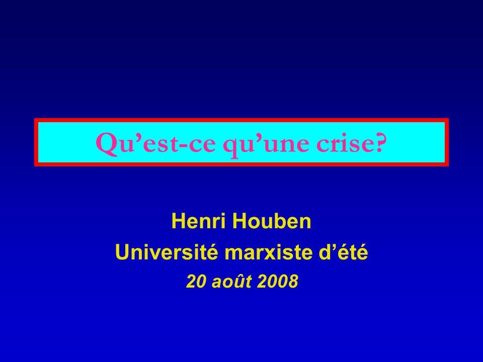 Qu'est-ce qu'une crise? Henri Houben Université marxiste d'été 20 août 2008