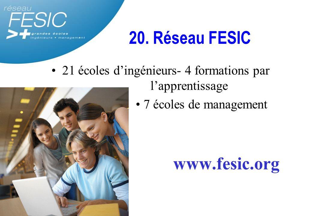 20. Réseau FESIC 21 écoles d'ingénieurs- 4 formations par l'apprentissage 7 écoles de management www.fesic.org