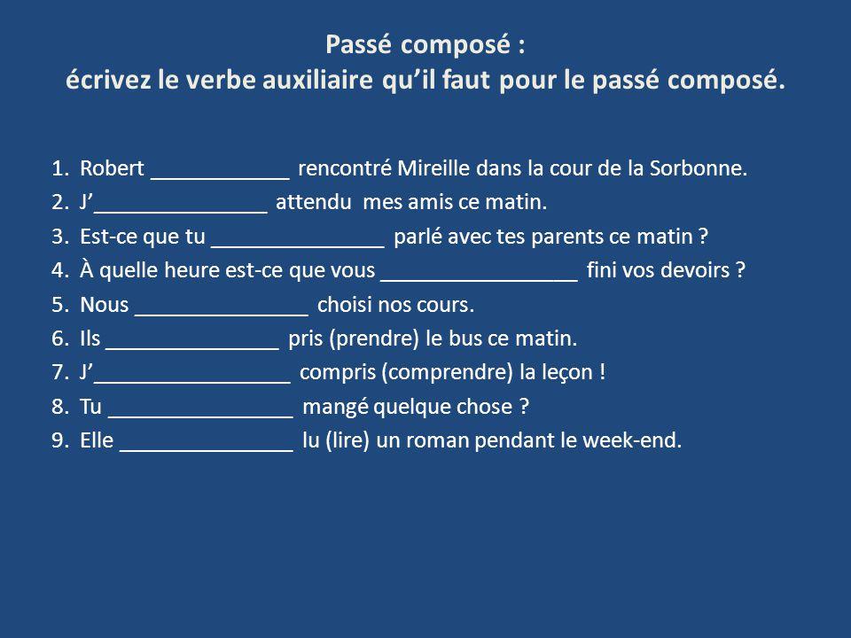 Passé composé : écrivez le verbe auxiliaire qu'il faut pour le passé composé.