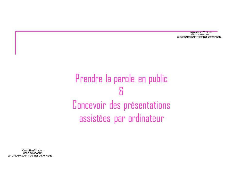 Prendre la parole en public & Concevoir des présentations assistées par ordinateur