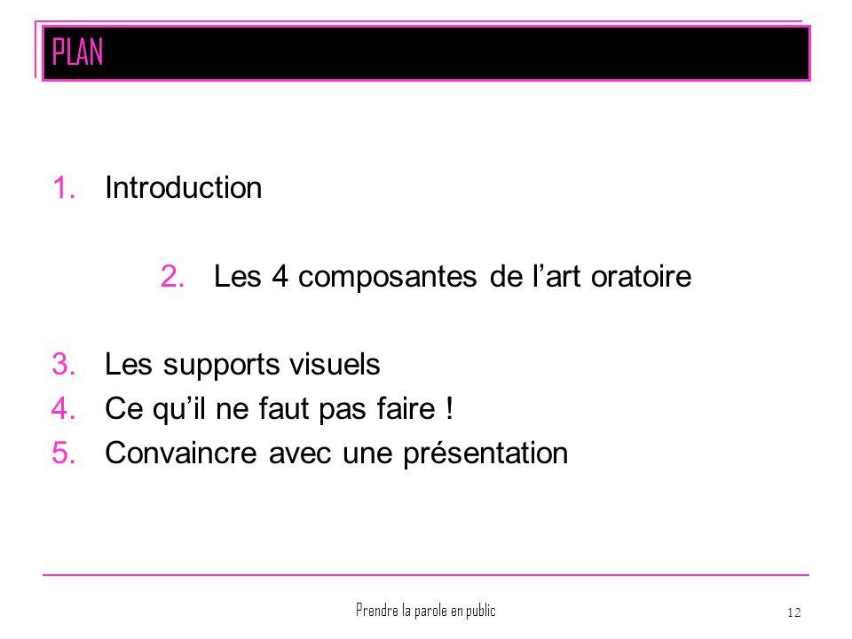 Prendre la parole en public 12 PLAN 1.Introduction 2.Les 4 composantes de l'art oratoire 3.Les supports visuels 4.Ce qu'il ne faut pas faire ! 5.Conva