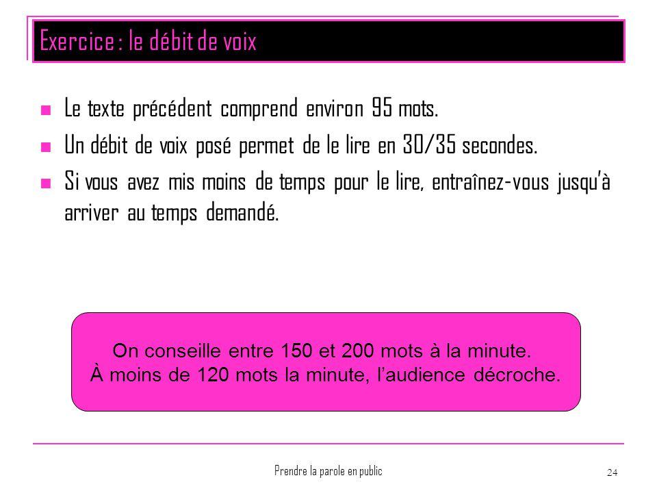 Prendre la parole en public 24 Exercice : le débit de voix Le texte précédent comprend environ 95 mots. Un débit de voix posé permet de le lire en 30/