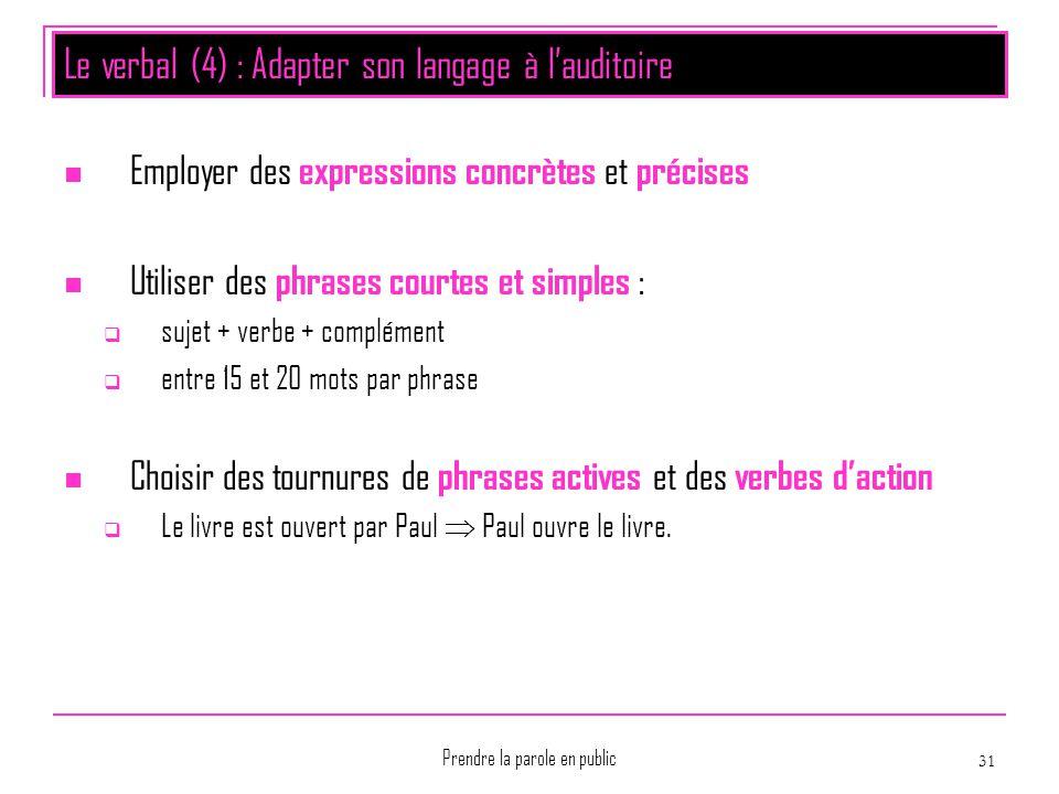 Prendre la parole en public 31 Le verbal (4) : Adapter son langage à l'auditoire Employer des expressions concrètes et précises Utiliser des phrases c