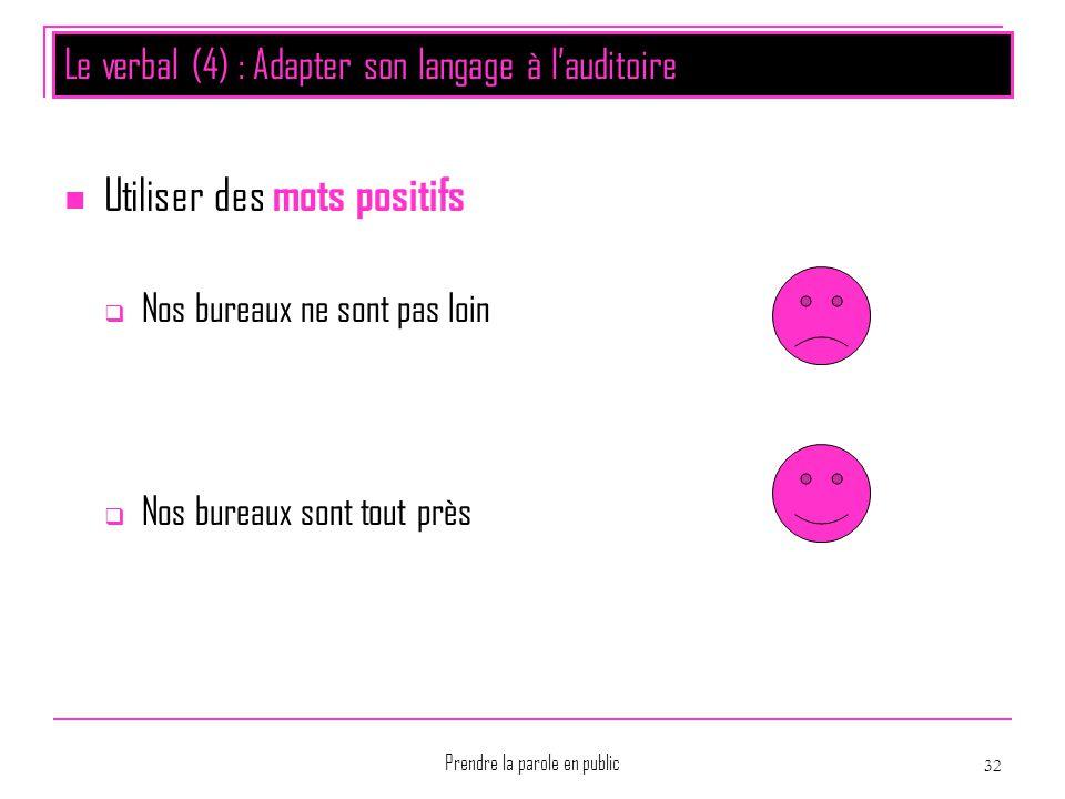 Prendre la parole en public 32 Le verbal (4) : Adapter son langage à l'auditoire Utiliser des mots positifs  Nos bureaux ne sont pas loin  Nos burea