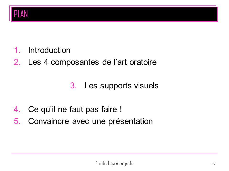 Prendre la parole en public 39 PLAN 1.Introduction 2.Les 4 composantes de l'art oratoire 3.Les supports visuels 4.Ce qu'il ne faut pas faire ! 5.Conva
